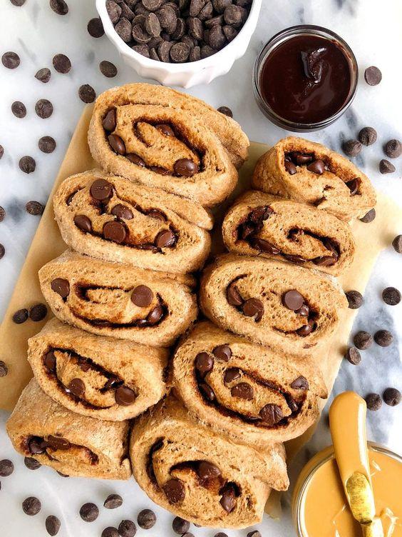 Healthier Gluten Free Dark Chocolate Chip Cinnamon Rolls Recipe Cinnamon Rolls Chocolate Flavors Healthy Cinnamon Rolls