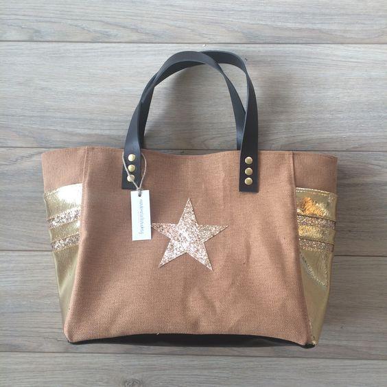 Sac ETOILE - Coton huilé tabac & Simili cuir craquelé doré : Sacs à main par mademoiselle-audrey
