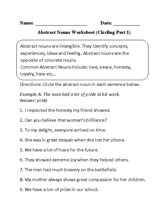 Circling Abstract Nouns Worksheet Part 1 Beginner Sheets
