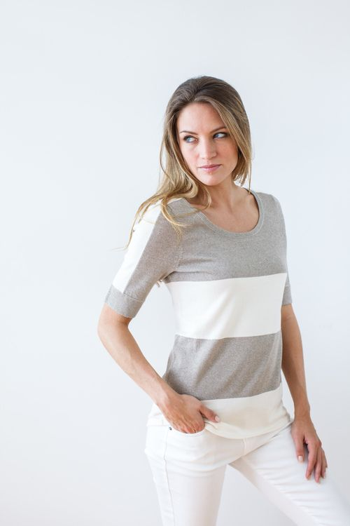 Belford Pumice/Heather shimmer cotton tee