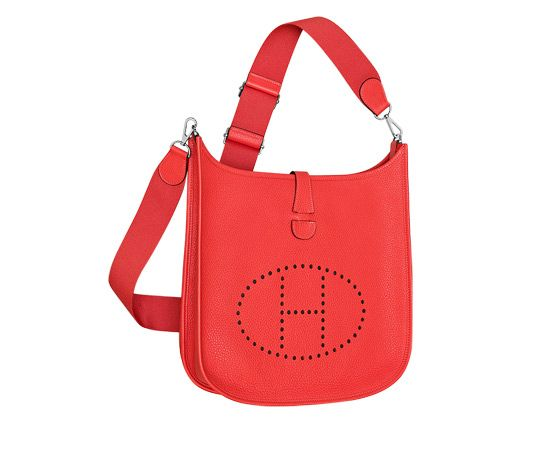 hermes messenger bags - Evelyne III Hermes shoulder bag in peony red taurillon clemence ...