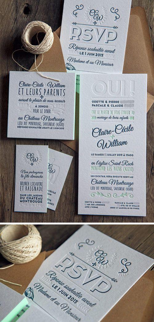 Suite de mariage avec faire-part, cartons RSVP, invitations dîner et brunch en 2 couleurs et débossage à sec / letterpress wedding suite printed by Cocorico letterpress