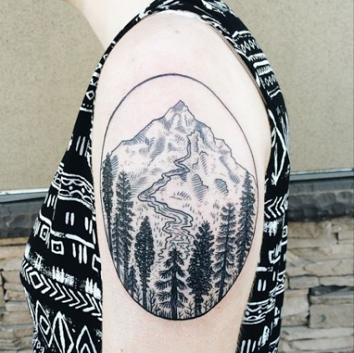 Standing grizzly bear silhouette with beautiful mountains and forest. 58 Coolest Tree Tattoos Designs And Ideas For Men And Women Tree Tattoo Designs Forest Tattoos Mountain Tattoo Design