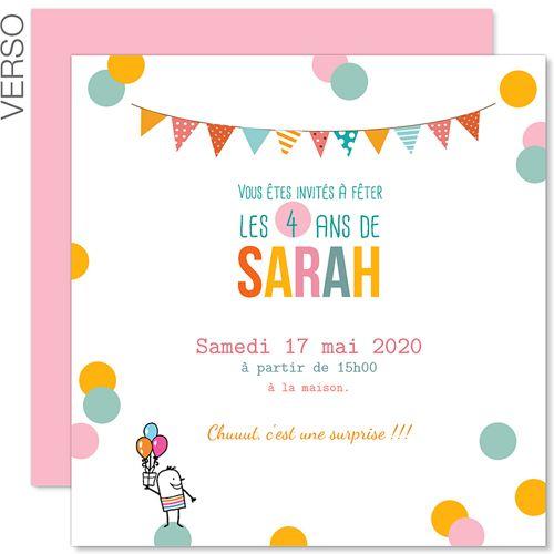 Très Invitations Anniversaire Fille - 4 ans Paillettes 41837 | French 1  CR98