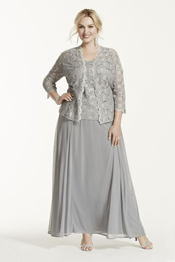 Plus Size Two Piece Lace and Chiffon Jacket Mother of Bride/Groom