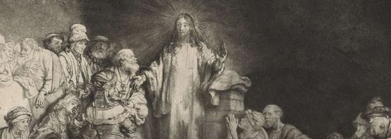 Harmensz van Rijn Rembrandt 1606 - 1669 The Hundred Guilder print: Christ surrounded by numerous figures, many sick, blessing the little children (detail). Finished c.1649  Etching, drypoint and burin, printed on japan paper 281 millimetres x 388 millimetres  The British Museum, London