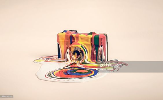 camera covered in paint