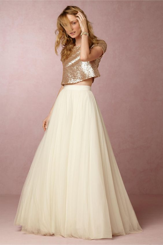 Gold sequin top with a pink tulle skirt would be so cute! They are opening a store in Walnut Creek in September. We should go! They have a ton of gorgeous dresses!: