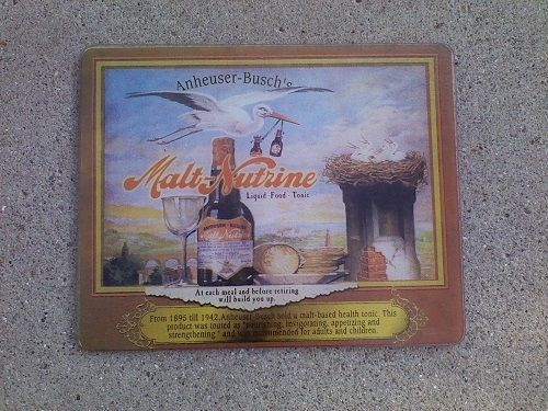 Anheuser Busch Malt Nutrine Soft Drink Glass Cutting Board Prohibition Repro