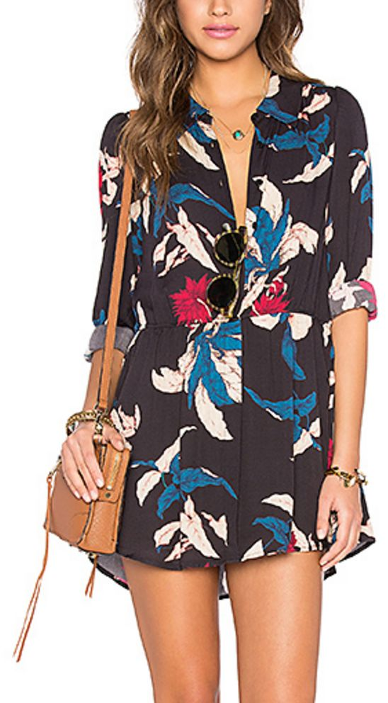 Shirt Dress in Black, Blue, Magenta and Pink Tropical Print