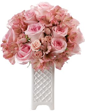 Priceless Love Roses - your love is priceless and so is she. Pink Majolica spray roses, and light pink alstroemeria share a similar color and brought together they create a delightful display of your sweetest sentiments.  #calyxflowers  #PinkRoses