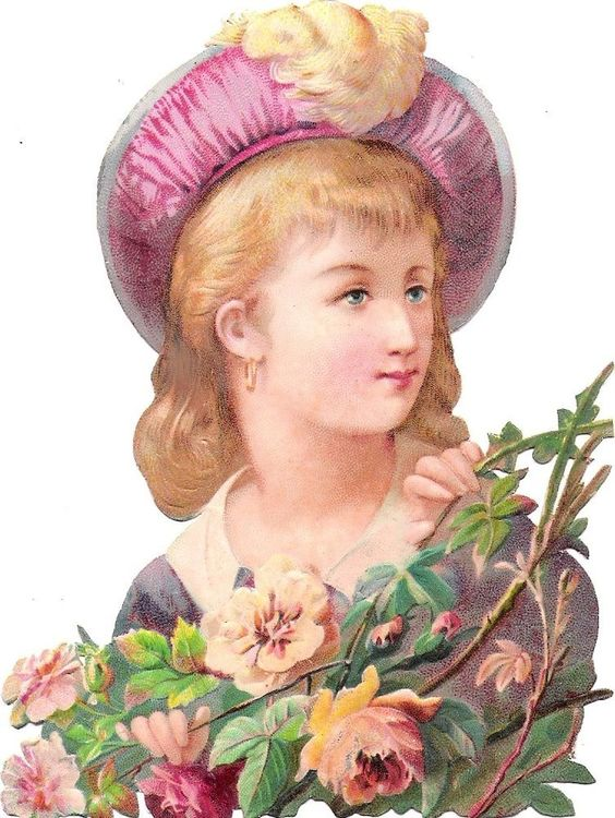 Oblaten Glanzbild scrap die cut chromo Dame  13cm lady girl blossom child Kind: