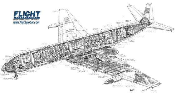 de havilland dh comet 4 cutaway drawing