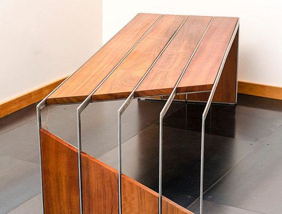Brazilian Cherry Stainless Steel Bench by Visual by MetalOnWood - möbel pallen küchen