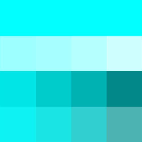 #Aqua shades (Hue) ( pure color ) with Tints (hue + white), Shades (hue + black) and Tones (hue + grey, which desaturates the Hue)
