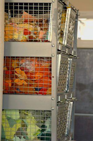 store fabric scraps in wire baskets @allpeoplequilt.com
