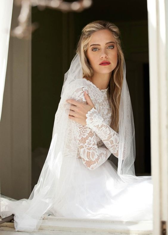 Long Sleeve Wedding Dress, Lace Wedding Dress