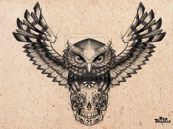 Owl - sugar skull Tattoo design for brest or chest by redtrujillo.deviantart.com on @deviantART