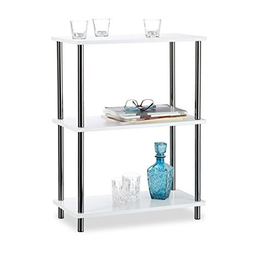 Relaxdays White Side Table Small 3 Tier Standing Shelf Open Living Room Storage Mdf Hwd 79x60x30 Foyer Table Diy Side Table With Storage Round Foyer Table