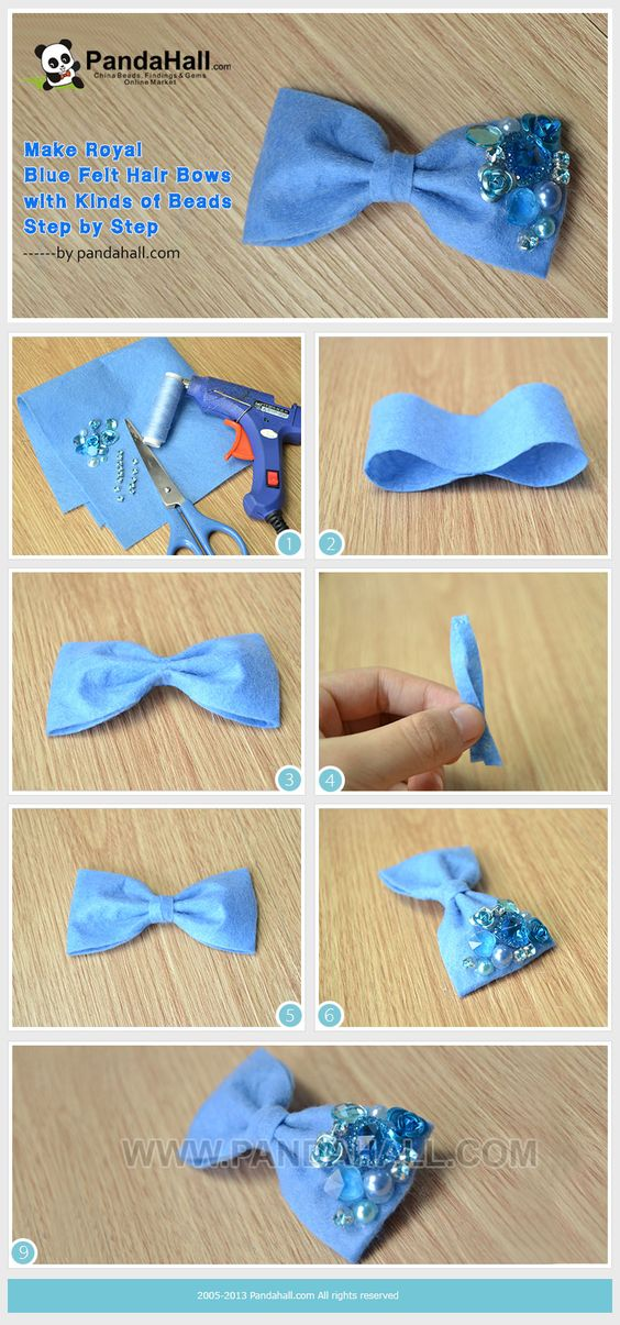 Make Royal Blue Felt Hair Bows with Kinds of Beads Step by ...
