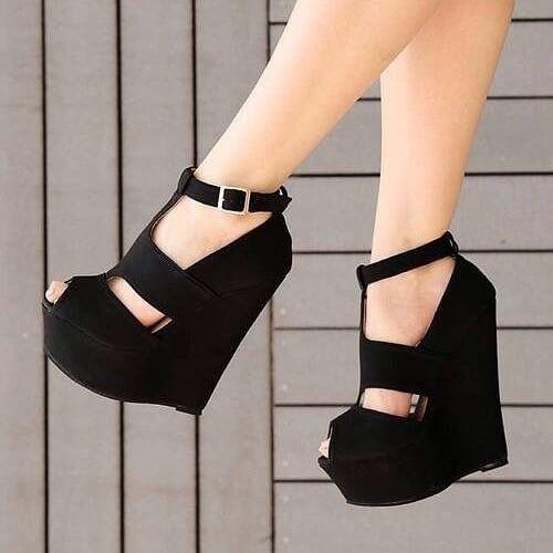 heels wedges, Black high heels, Wedge shoes