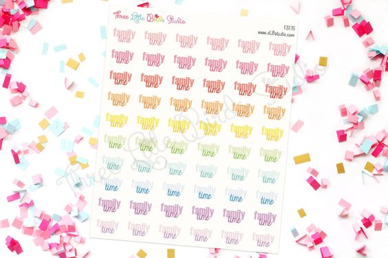 Colorful Family Time Planner Stickers