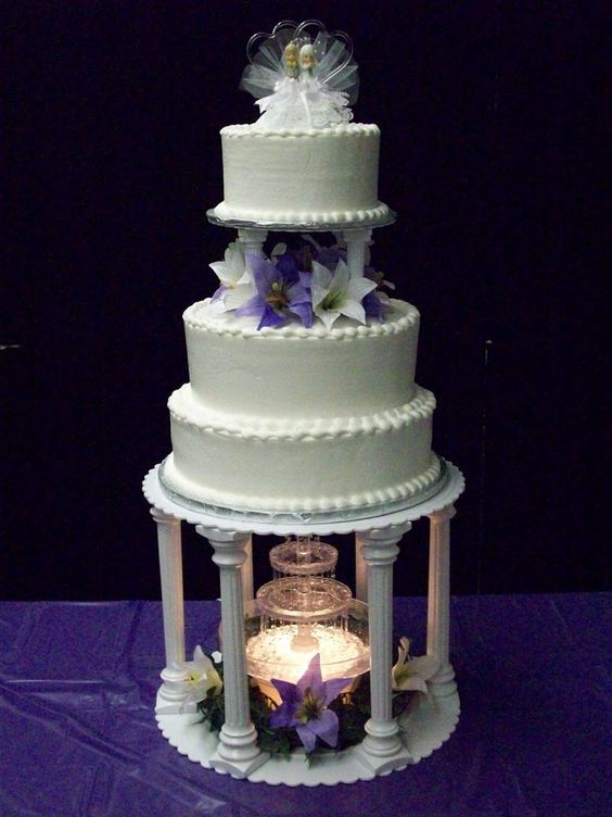 Wedding Cakes with Fountains | purple lily fountain purple and white lillies on a fountain one of my ...