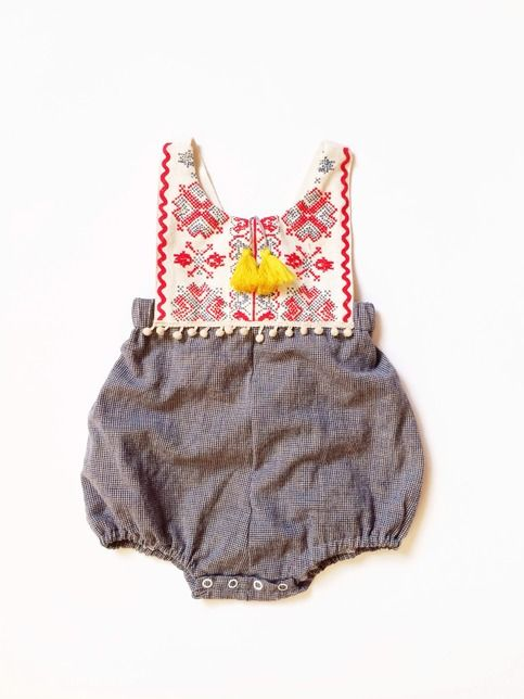 This darling little romper is the perfect transition piece for Fall- can be worn on its own or with layers underneath. This is a limited edition romper. The lightweight, soft, vintage fabrics have been prewashed and preshrunk in hypoallergenic detergent, although exact fabric contents are unknown. Th