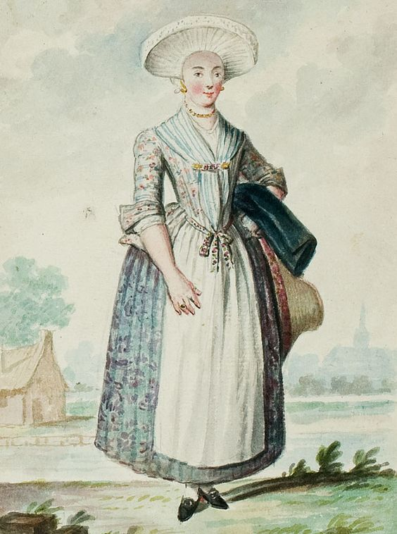 "1770s - 18th century - woman's outfit with mixed print fabrics (jacket in floral, skirt in a different floral, apron in solid, and neckerchief either in stripes or simply showing pleats/folds) - From ""An album containing 90 fine water color paintings of costumes."" Turin : [s.n.] , [ca.1775]. In the collection of the Bunka Fashion College in Japan. Underneath the illustration is handwritten in pencil ""Hamburgh"" (I think that's what it says!) Hamburg, Germany."