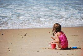 Playa, Niño, Jugando, Arena, Solitario