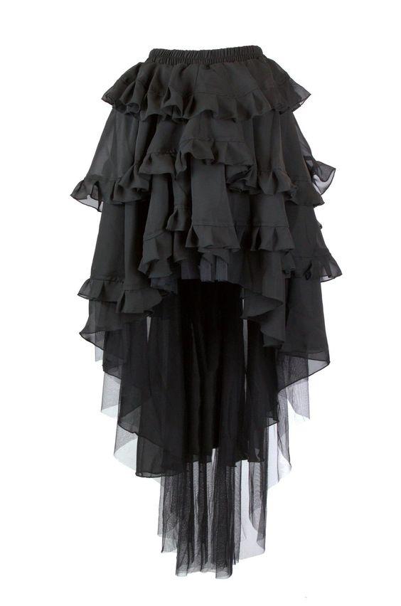 Ruffled, bustle back high low Steampunk chiffon skirt.