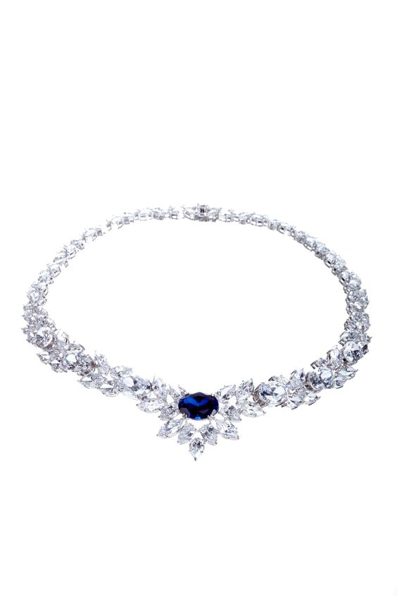 CZ & Created Sapphire Red Carpet Necklace