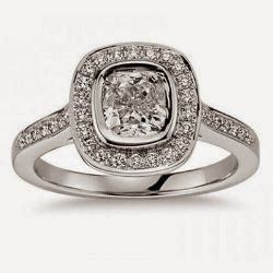 1.50 Ct Ladies Cushion Micro Pave Halo Diamond Engagement Ring 18 kt White Gold For $4700