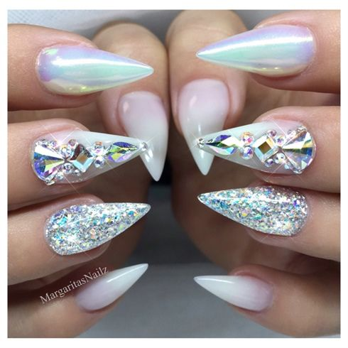 White Ombre Chrome Bling Stiletto Nails With Images Chrome