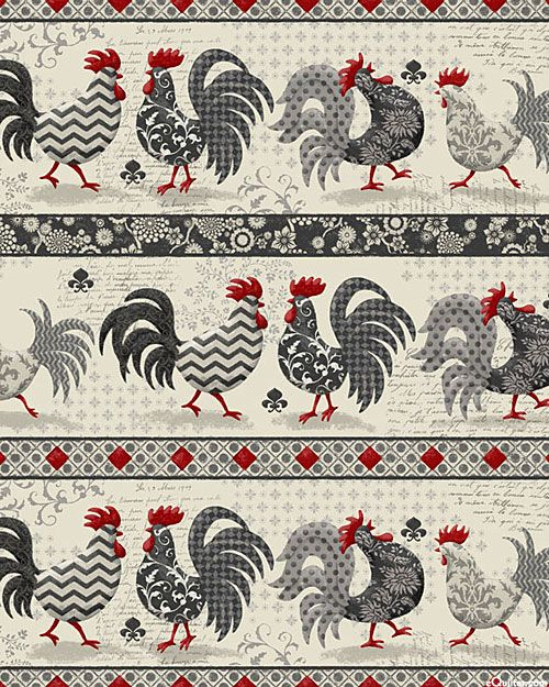Poulets De Provence - Country Rooster Stripe - Oyster Gray: