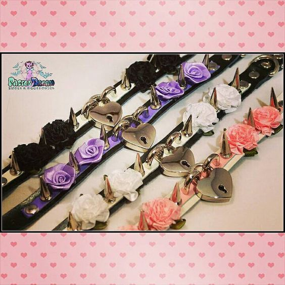 Heart locket spiked pastel goth punk flower choker necklace Soft Grunge, kawaii,harajuku,nugoth