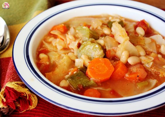 This delicious vegetable soup has just 150 teensy calories per serving, and it is packed with good-for-you ingredients!