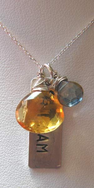 Citrine and Quartz Sat Nam Tag Necklace - 16 inch Chain - Silver by Nikha Jewelry : SpiritVoyage