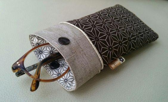 Etui à lunettes japonais sashiko passepoil doré et lin enduit : Etuis, mini sacs par justinfil