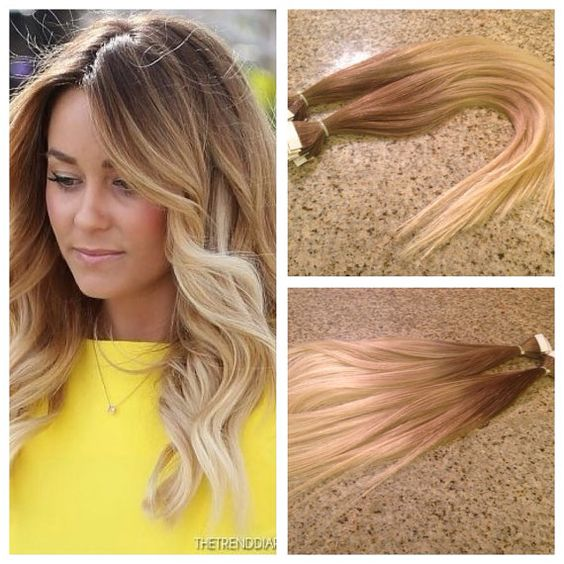 5 Star Ombre Cuticle Remy Human Hair Keratin Fusion Tape-in Seamless weft Hair Extensions 40pcs on Etsy, $229.99