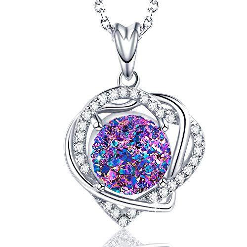 WISHMISS Women Silver Pendant Necklace Bracelet in Natural Drusy