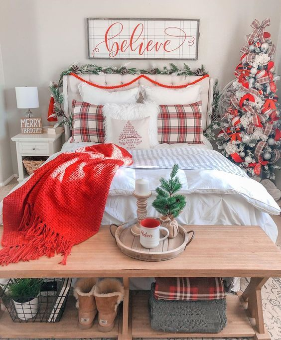 50 Christmas Bedroom Ideas To Spruce Up Your Home In 2021 Christmas Room Decor Christmas Decorations Bedroom Holiday Room Decor Christmas decorations for bedroom 2021
