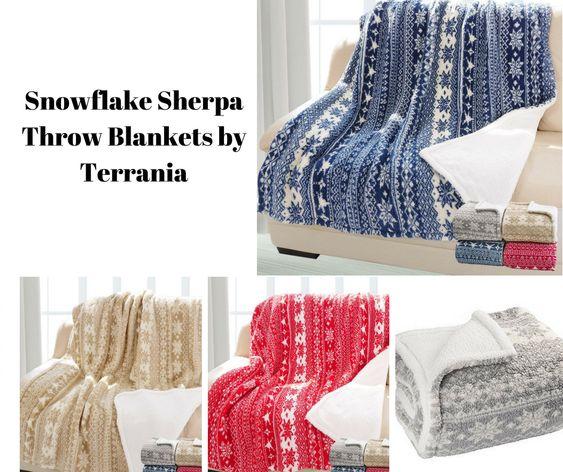 Snowflake Sherpa Throw Blankets by Terrania
