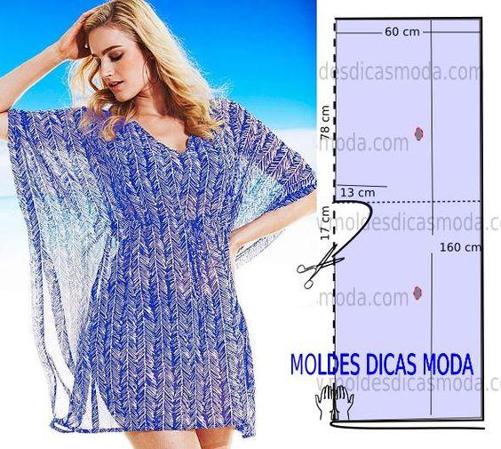 Analise de forma detalhada o desenho do molde túnica azul. Esta blusa é simples e bela, veste de forma descontraída e elegante. As medidas correspondem ao