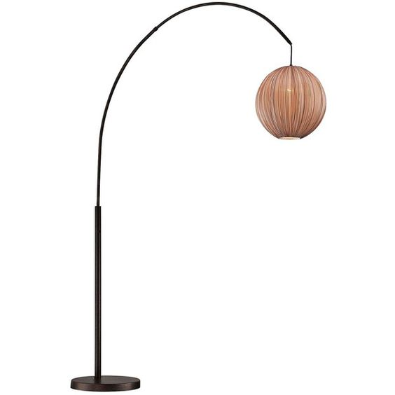Lite Source Kaden Copper Bronze Arch Floor Lamp ($318) ❤ liked on Polyvore featuring home, lighting, floor lamps, copper lamp, lite source, colored lamps, colored lights and round lamp
