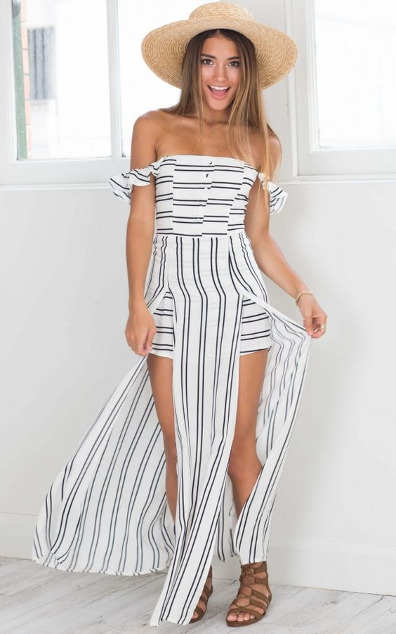 THINKING BOUT YOU MAXI PLAYSUIT IN WHITE STRIPE  US$53.95