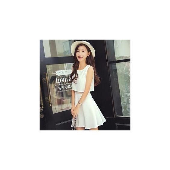 Mock Two-Piece Sleeveless Dress (€15) ❤ liked on Polyvore featuring dresses, women, no sleeve dress, white skater skirt dress, crop dress, white flared skirt and skater skirt