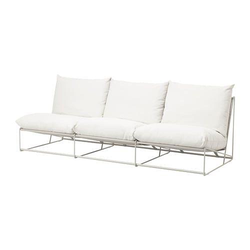 Havsten 3 Zitsbank Binnen Buiten Zonder Armleuningen Met Open Eind Beige Ikea Outdoor Sofa Ikea Outdoor Outdoor Seat Pads
