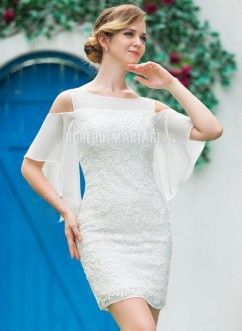 Robe de mariée courte avec manche mi-longue en dentelle