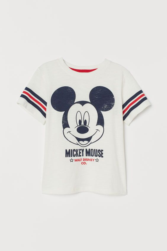 Printed T Shirt White Mickey Mouse Kids H M Us Retro Disney Mickey Mouse Print T Shirt